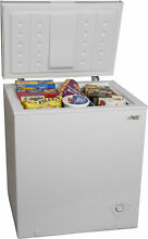 Chest Freezer 5 cu  ft  White Compact Recessed Handle With Adjustable thermostat