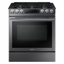 SAMSUNG 5 8 cu  ft  Slide in Gas Range with Fan Convection   Black Stainless