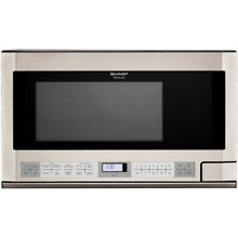 Sharp R1214T 1 5 Cu  Ft  1100W Over the Counter Microwave in Stainless Steel