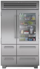 Sub Zero Stainless Steel PRO4850G 48  Built in Pro Refrigerator with Glass Door