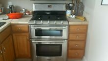 Maytag double oven free standing stainless steel gas range