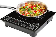 Induction Cooktop 1800W Portable Silver Electric Range Stove Countertop Burner