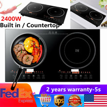 2400W Electric Dual Induction Cooker Countertop Double Burner Cooktop Portable