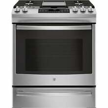 GE 30  Slide In Front Control Convection Gas Range   Stainless Steel