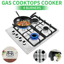 For Cook Top Stove 23 2  Stainless Steel 4 Burners Gas Cooktop Built in Stove