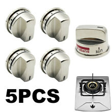 5pcs Stainless Steel Gas Stove Burner Knobs for LG Range EBZ37189611 EBZ37189609