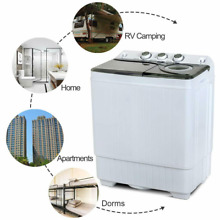 Compact Washing Machine Twin Tub Built in Drain Pump Laundry Spiner  Dryer 26 LB