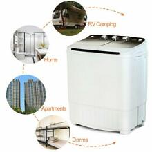 17LBS Portable Washing Machine Compact Twin Tub Laundry Washer Spinner Dryer BLK