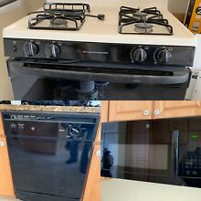 GE Kitchen Appliances Black   Gas Range  Dishwasher  Microvave  Never Used