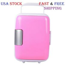 Mini Fridge Portable 12V 4 Liters Mini Refrigerator Cooler and Warmer Pink