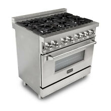 ZLINE 36 Inch Dual Fuel Gas Range Electric Oven  Stainless Steel  Damaged