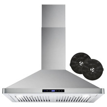 Range Hood 30 in  380 CFM Ductless Wall Mount Stainless Steel Carbon Filter Kit