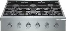 Bosch 800 Series 36  Stainless 6 Sealed Burners Gas Slide In Cooktop RGM8658UC