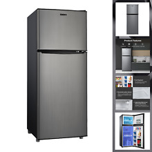 Galanz 4 6 Cu ft Two Door Mini Fridge with Freezer Stainless Steel FREE SHIPPING