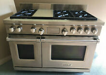 WOLF DF486G 48  Dual Fuel Stainless Range w  6 Sealed Burners   Infrared Griddle