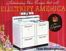 1936 Westinghouse Electric Stove  Refrigerator   Tool Box  Magnet