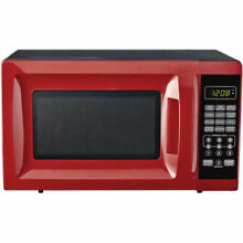 Mainstays 700W Output Microwave Oven 10 Power Levels Child Saftey Lock Red NEW