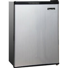 Magic Chef 2 4 Cu  Ft  Compact Fridge with Freezer in Stainless Steel   MCBR240S