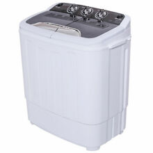 Mini Compact Twin Tub Washing Machine Washer 13lbs Spin Spinner Black