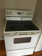 Maytag electric stove  white  very clean  good condition