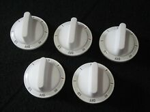 Set of 5 white GE burner control knobs part   WB3K5258 stove range electric