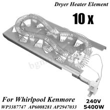 10Pcs Dryer Heating Element Kit For Whirlpool Kenmore 3387747 WP3387747 PS344597