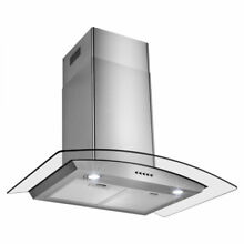 30  Stainless Steel Push Control Wall Mount Kitchen Cooking Range Hood Vent Fan