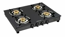 Sunflame GT Pride 4 Burner Glass Top Gas Stove Black   Express Shipping
