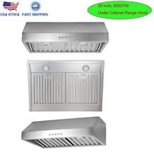 30  Under Cabinet Range Hood Kitchen Vent w  LEDs Stainless Steel Baffle Filters