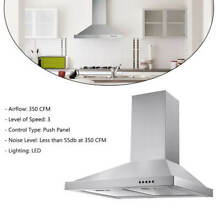 30 inch Wall Mount Range Hood 350 CFM Kitchen Over Stove Vent with LED Light