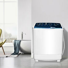 Portable 21lbs Mini Semi Automatic Washing Machine Twin Tub Washer Spinner Dryer