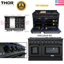 Thor Kitchen 48in Black Gas Range Stove Oven 6 Burners Griddle Cooktop 6 7