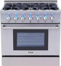 THOR KITCHEN  36  DUAL FUEL GAS RANGE 6 BURNER 5 2Cu Ft ELECTRIC Convection Oven