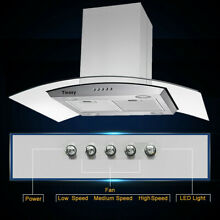 36 in Island Mount Stainless Steel   Tempered Glass Range Hood Mechanical Panel
