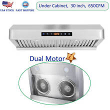 30 in Under Cabinet Range Hood Kitchen Over Stove Vent Twin Motors Touch Control