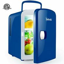 New Mini Fridge Portable AC DC Powered Cooler and Warmer 4 Liter for Dorms Blue