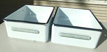 Pair of Vntg Frigidaire Hydrator Enamel on Metal Refrigerator Crisper Drawers