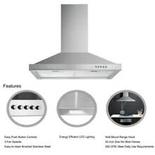 30 inch Range Hood Wall Mount Kitchen Over Stove Vent with LED Light 350 CFM
