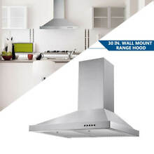 30 inch Range Hood Stainless Steel Wall Mount Kitchen Over Stove Vent 350 CFM
