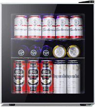 Kismile Beverage Refrigerator and Cooler 60 Can Mini Fridge with Glass   Led