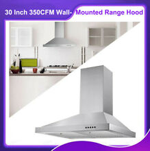 30 Inch 350CFM Stainless Steel Wall Mounted New Kitchen Range Hood 3 Speed Vent