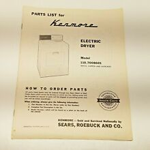 VTG Kenmore Electric Dryer Model 110 7008601 Parts List Sears Reobuck   Co Care