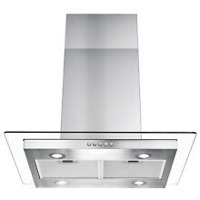 30  Modern Island Canopy Mount Range Hood Flat Glass Push Button Panel LED Stove