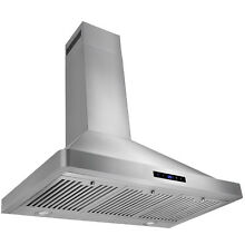 European Stainless Steel 36  Wall Mount Range Hood LED Lights   Touch Control