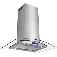 36  Stainless Steel Island Mount Range Hood with Tempered Glass