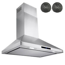 30  LED Touch Control Stainless Steel Wall Mount Ductless Kitchen Range Hood