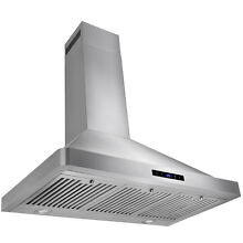 European Stainless Steel 36  Wall Mount Range Hood LED Touch Control Panel