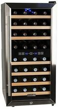 Koldfront 32 Bottle Free Standing Dual Zone Wine Cooler   Black And Stainless