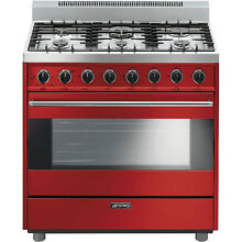Smeg C36GGRU 36  Classic All Gas Stainless Steel   Red Range 6 Burners