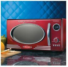 0 9 cu ft Electric Retro Series Kitchen Tabletop Microwave Oven   Chrome Red New